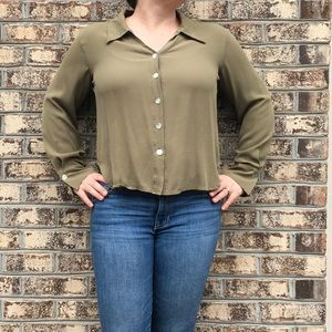 ISDA & Co Silk Button Down Cropped Top Blouse